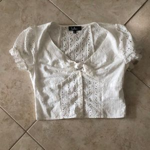 Lulus white floral detail blouse size M